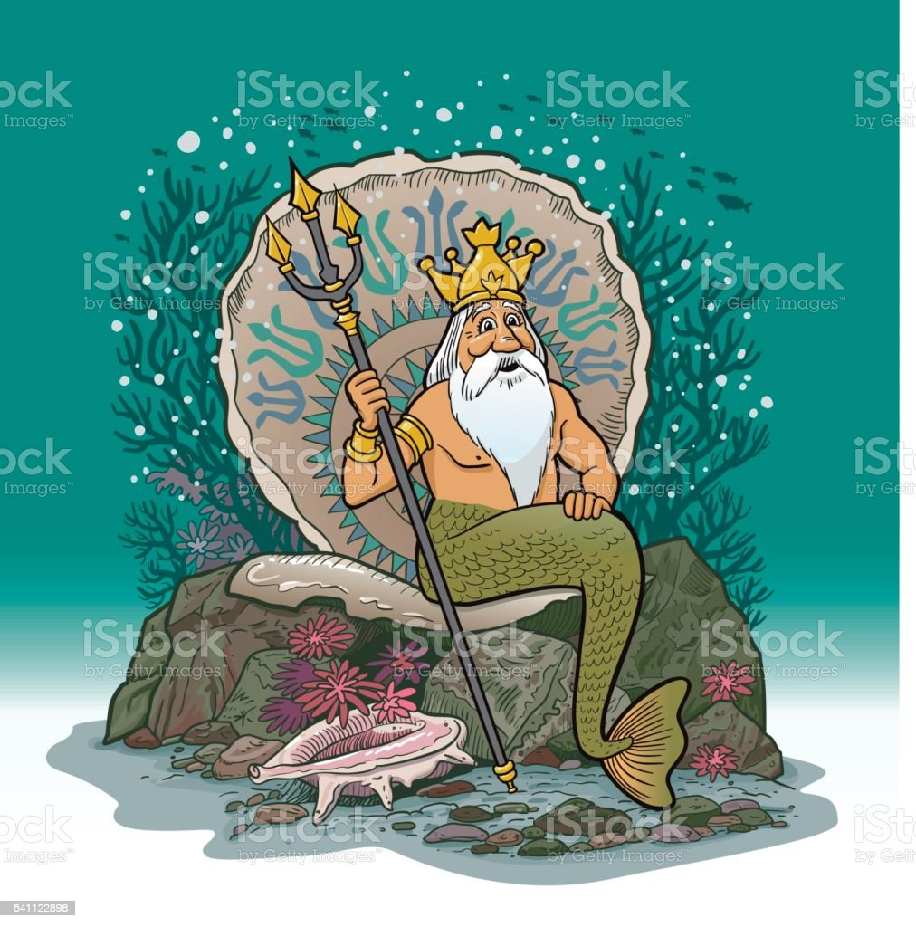 King Neptune Under Water Cartoon vector art illustration
