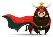 vector illustration of king of bull