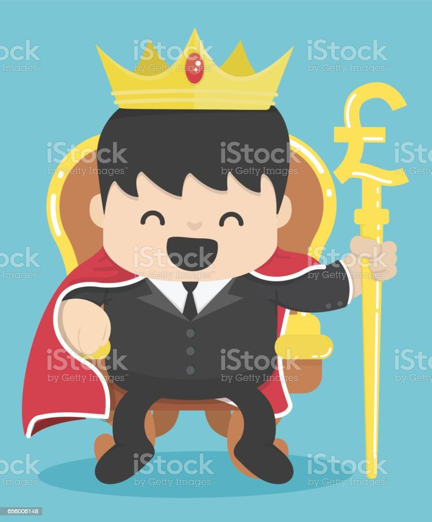 King of businessman with silver pound symbol vector art illustration