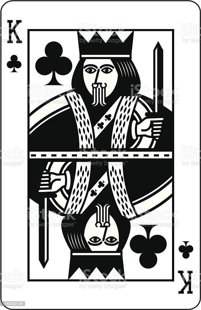 King of Clubs Black vector art illustration