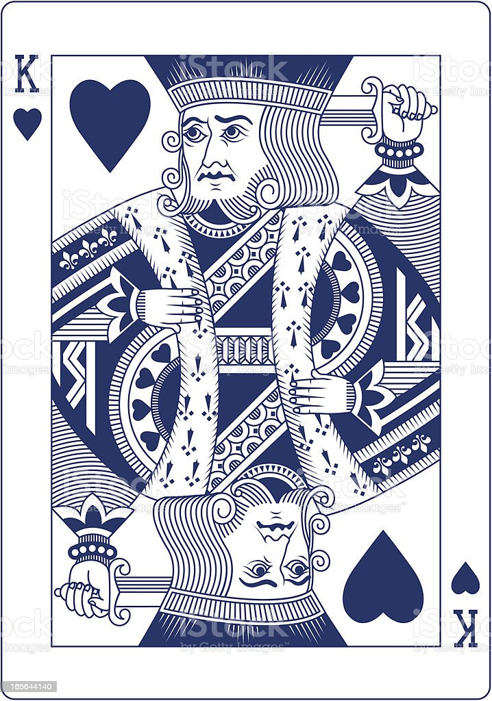 King of Hearts playing card in blue vector art illustration