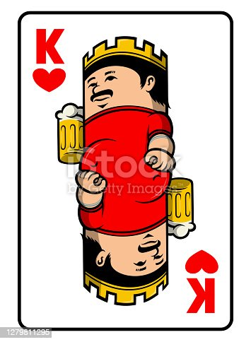 King of hearts playing card vector illustration with funny cartoon fat man holding a mug of beer