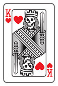 King of hearts playing card with human skeleton