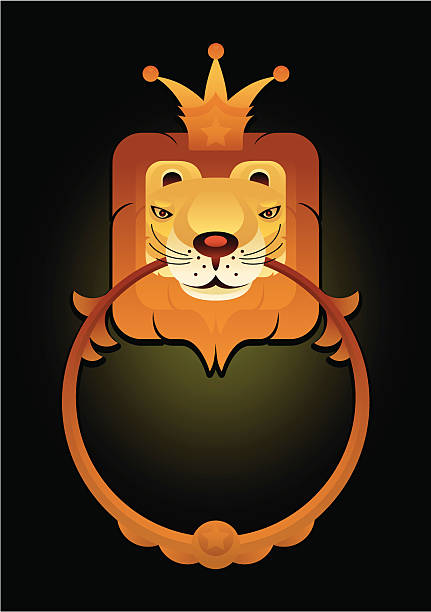 könig der löwen - türklopfer stock-grafiken, -clipart, -cartoons und -symbole