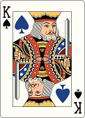 King of Spades playing card with a blue Spade.