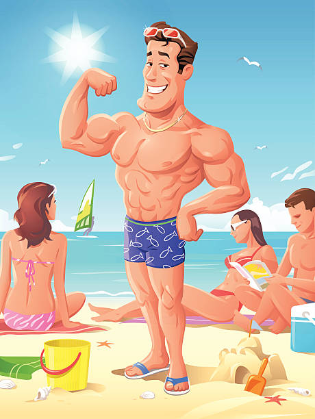 king of the beach - cartoon muscle arms stock illustrations, clip art, cartoons, & icons