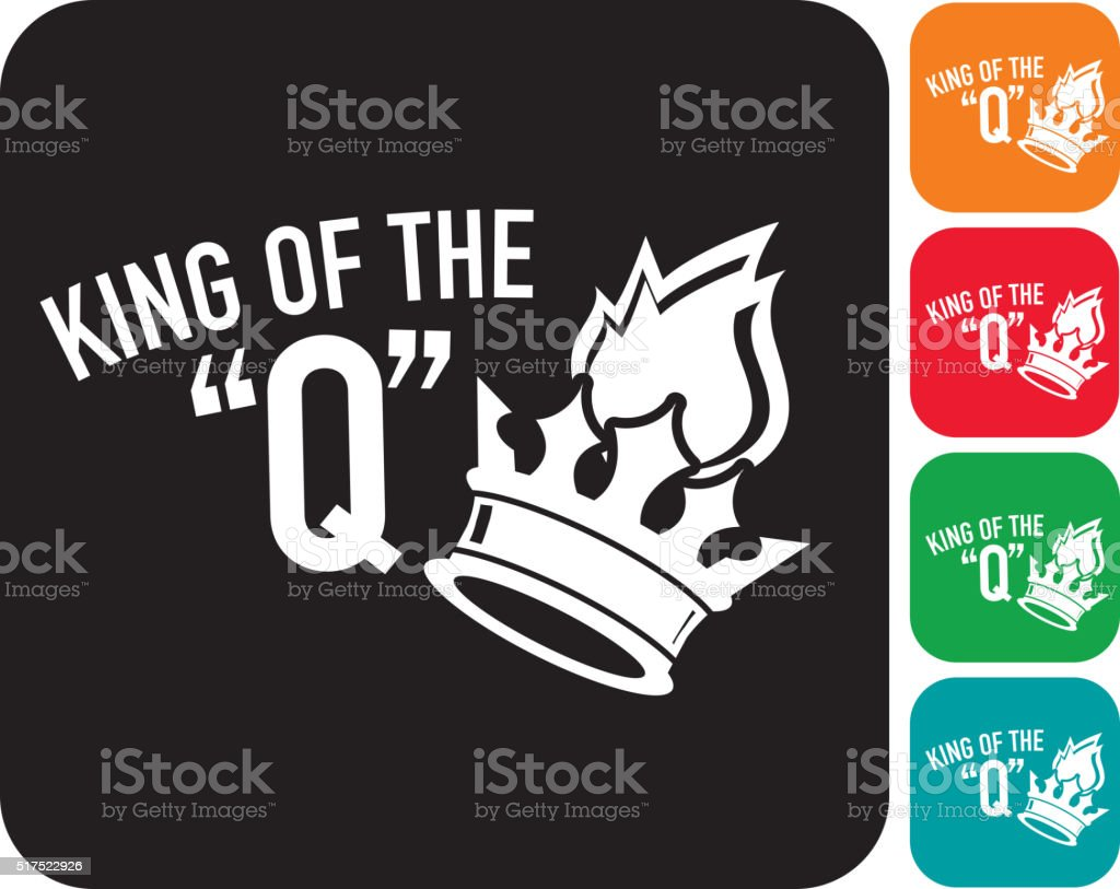 King of the Q with crown and flame icon set vector art illustration