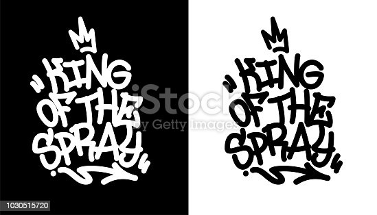 King of the spray. Graffiti tag in black over white, and white over black. Vector illustration Eps 10