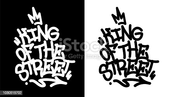 King of the street. Graffiti tag in black over white, and white over black. Vector illustration.