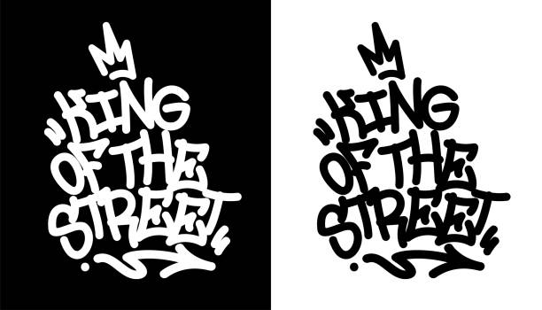 King of the street. Graffiti tag in black over white, and white over black. Vector illustration. King of the street. Graffiti tag in black over white, and white over black. Vector illustration Eps 10 street art stock illustrations