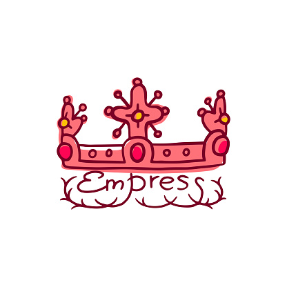 King or queen crown and Empress word, vector doodle illustration isolated.