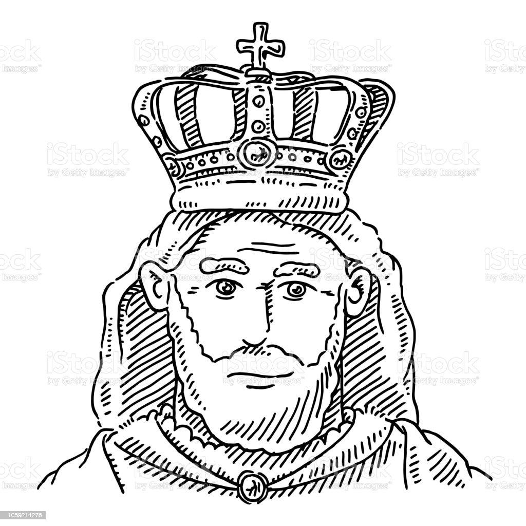 Ilustración De Dibujo De Corona De Retrato Rey Monarca Y Más Banco