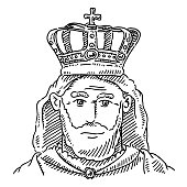 King Portrait Crown Monarch Drawing