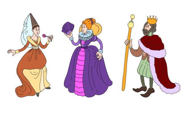 King, queen and maid of honor in costumes vector illustration Set of isolated hand drawn cute king, queen and maid of honor in special costumes over white background vector illustration. Illustration for children books and cartoons concept diademe stock illustrations