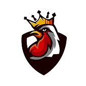 King Rooster mascot logo design with modern illustration concept style for badge, emblem and t shirt printing and any design