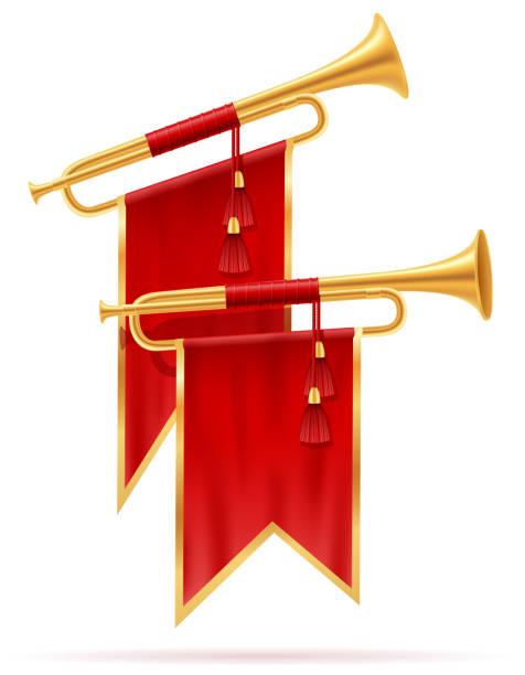 king royal golden horn-vektor-illustration - fanfare stock-grafiken, -clipart, -cartoons und -symbole