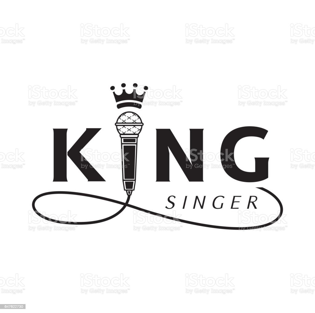 king singer logo with microphone king singer logo design with microphone and crown Arts Culture and Entertainment stock vector