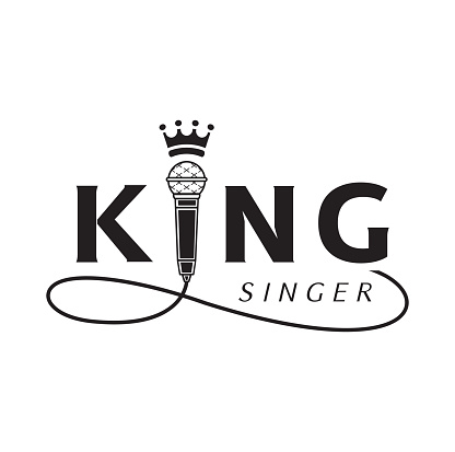 King Singer Logo With Microphone Stock Illustration - Download Image Now