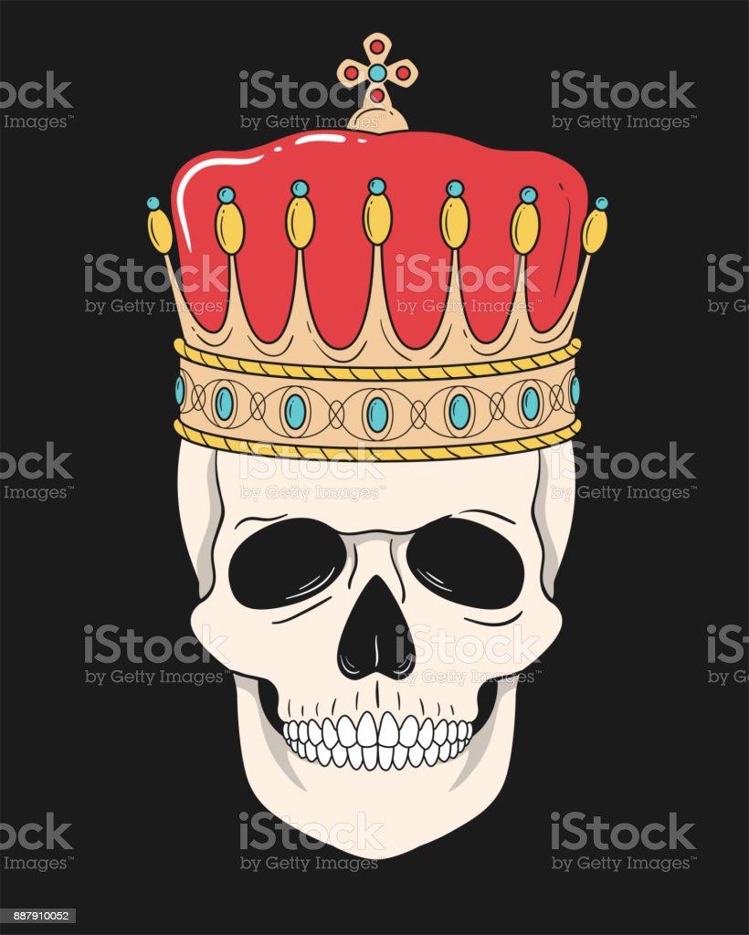 Ilustración de Rey Calavera Con Corona Aislada Sobre Fondo Negro y ...