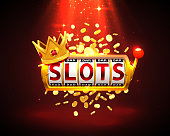 King slots 777 banner casino on the red background. Vector illustration