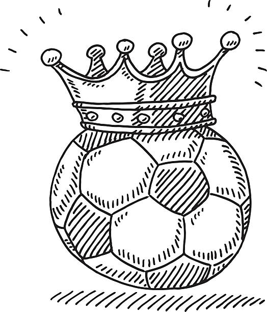 King Soccer Ball Crown Drawing Hand-drawn vector drawing of a King Soccer Ball with a Crown, Symbol for Men's favourite Sport in many countries. Black-and-White sketch on a transparent background (.eps-file). Included files are EPS (v10) and Hi-Res JPG. soccer stock illustrations