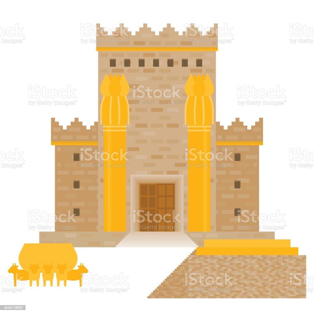 King Solomon's temple vector art illustration