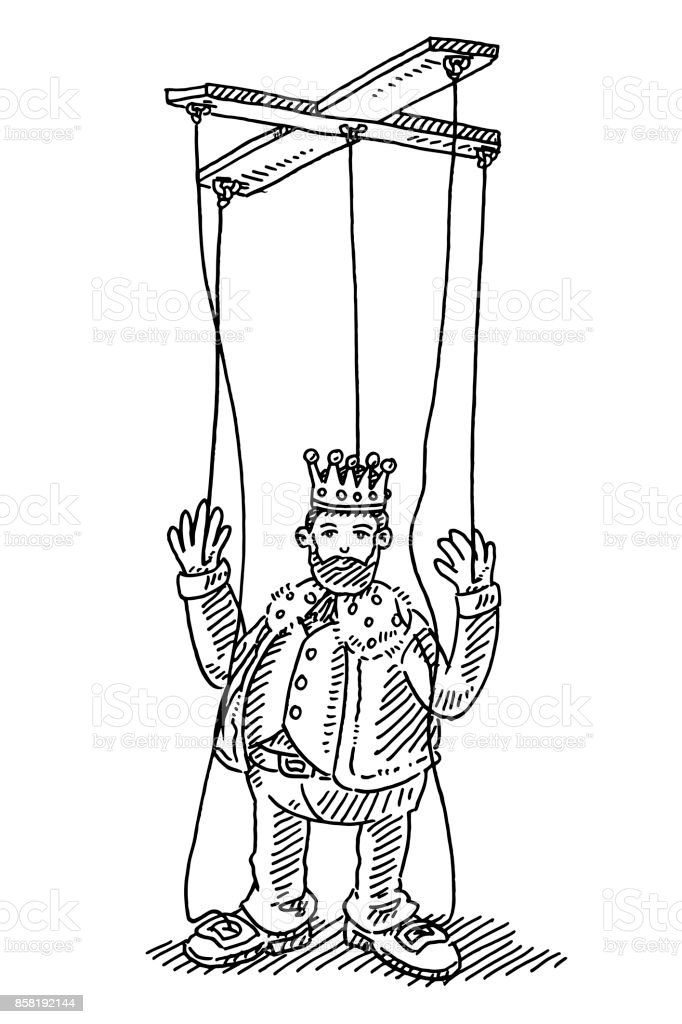 King String Puppet Toy Drawing vector art illustration