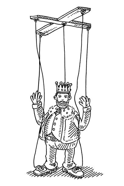 king string puppet toy drawing - kukiełka stock illustrations