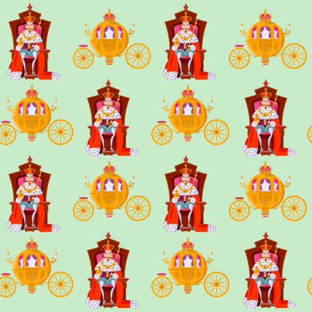 King wearing a crown and royal mantle, sitting on a throne, Fantasy Carriage. Seamless background pattern. King wearing a crown and royal mantle, sitting on a throne, Fantasy Carriage. Seamless background pattern. Vector illustration ermine stock illustrations