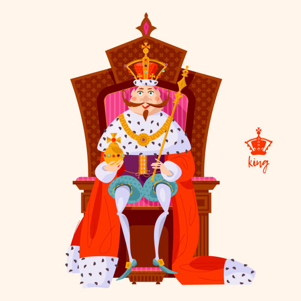 King wearing a crown and royal mantle, sitting on a throne. King wearing a crown and royal mantle, sitting on a throne. Vector illustration. ermine stock illustrations