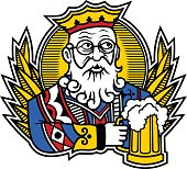 Card stylizing King with mug of beer.