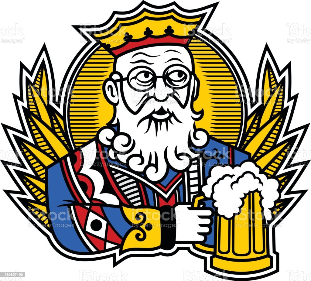 King with beer vector art illustration