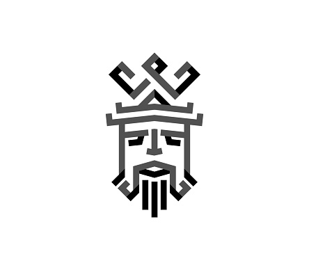 king with crown and beard simple royal logo