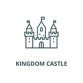 Kingdom castle wtih three towers vector line icon, linear concept, outline sign, symbol