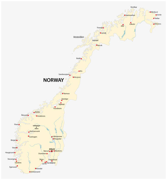 Kingdom of Norway map Kingdom of Norway vector map norway stock illustrations