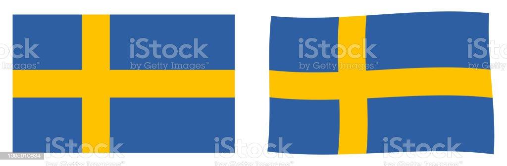 Kingdom of Sweden flag. Simple and slightly waving version. vector art illustration