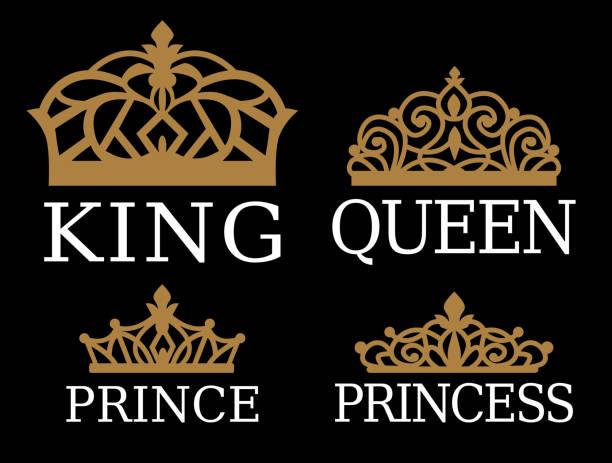 illustrations, cliparts, dessins animés et icônes de roi, reine, prince et princesse - jeu de conception familiale de couple. - diademe