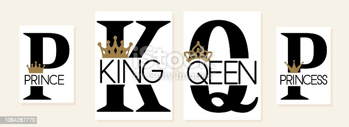 Mom, dad, little sister, brother, daughter, son - set of family crown design. Black text isolated on white. Printable: t-shirt, pillow, mug, cup, sweatshirt, pajamas