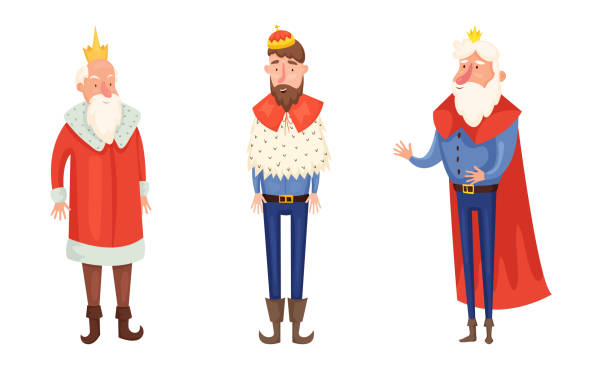 Kings in special costumes and crowns vector illustration Set of isolated hand drawn kings in special costumes and crowns over white background vector illustration. Illustration for children books and cartoons concept diademe stock illustrations