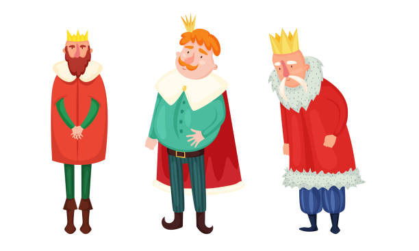 Kings in special costumes and golden crowns vector illustration Set of isolated hand drawn cute kings in special costumes and golden crowns over white background vector illustration. Illustration for children books and cartoons concept diademe stock illustrations