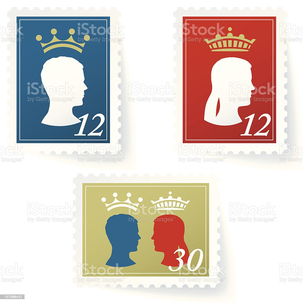 kings stamps (1 credit) royalty-free stock vector art