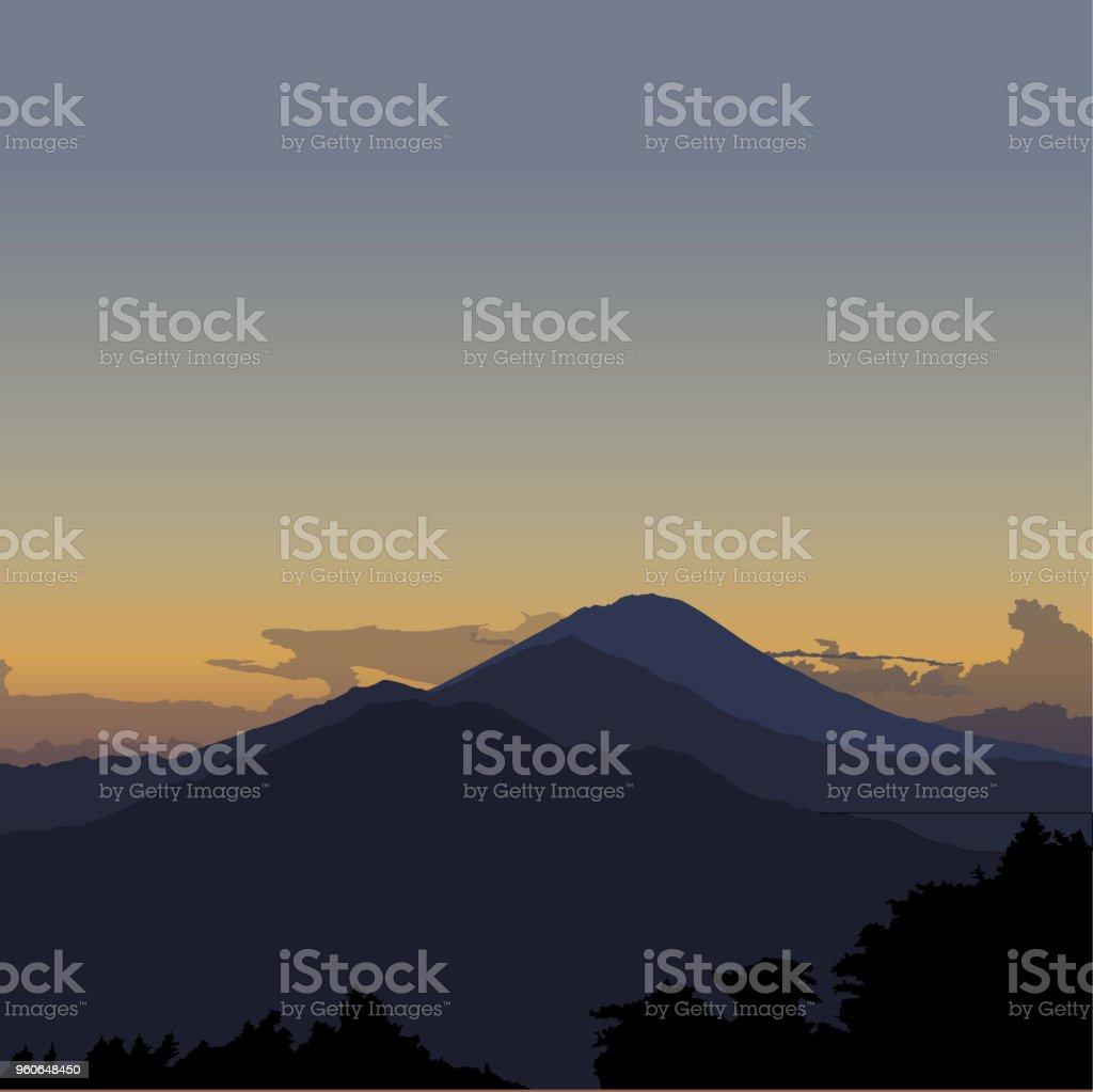 Kintamani, Bali. Vector sunrise illustration vector art illustration