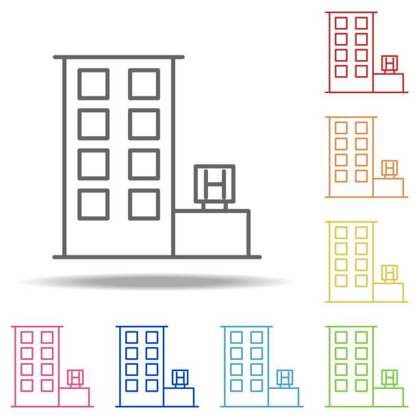 Kiosk Icon Elements Of Building Landmarks In Multi Color