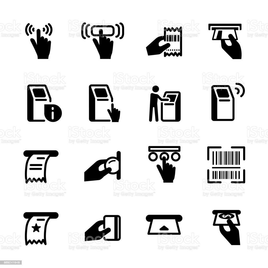 kiosk icon set, vector eps10 vector art illustration