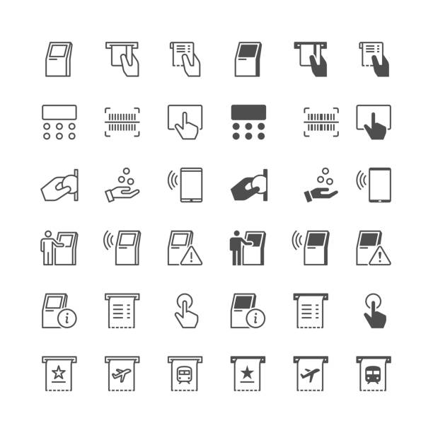 Kiosk icons, included normal and enable state. Simple vector icons. Clear and sharp. Easy to resize. inserting stock illustrations