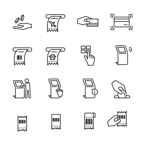 kiosk symbolsatz linie 2, vektor-eps10 - kassenbon stock-grafiken, -clipart, -cartoons und -symbole