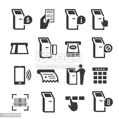 Kiosk terminal with interactive display icon set. Computer terminal with touchscreen. Vector line art illustration isolated on white background