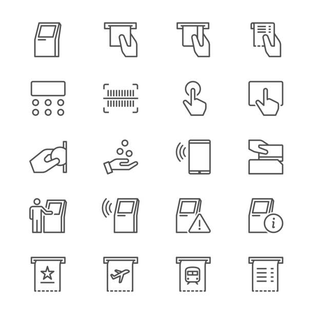 Kiosk thin icons vector art illustration