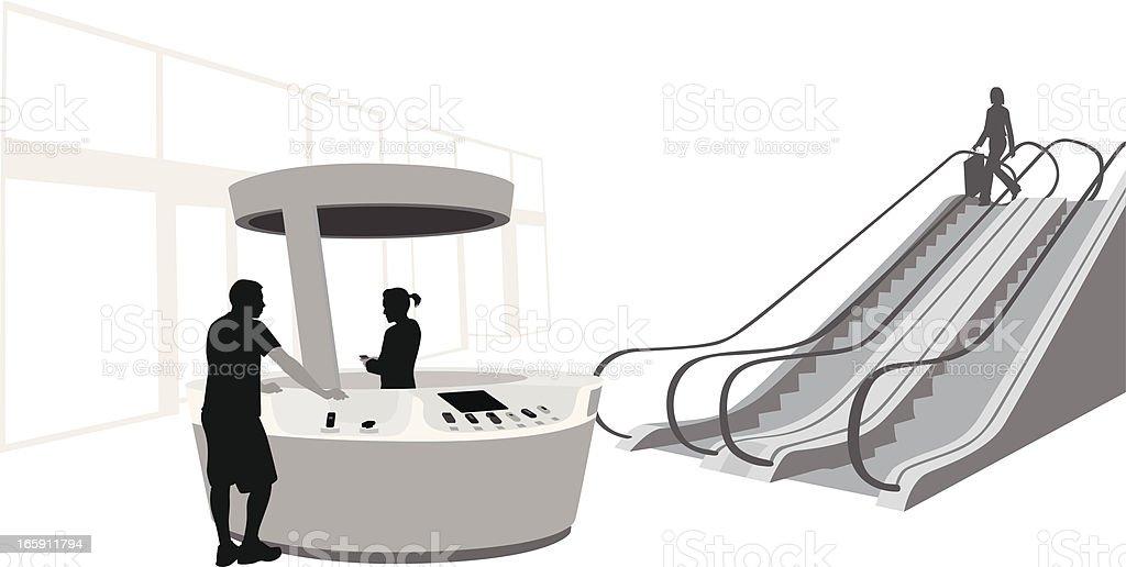 Kiosk'n Escalator Vector Silhouette royalty-free kioskn escalator vector silhouette stock vector art & more images of adult