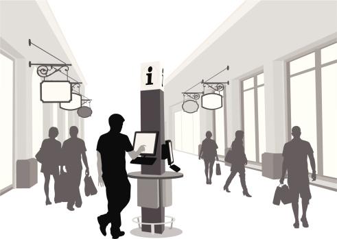 Kiosk'n Shopping Vector Silhouette